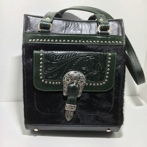American West Green tooled leather, cow hide purse